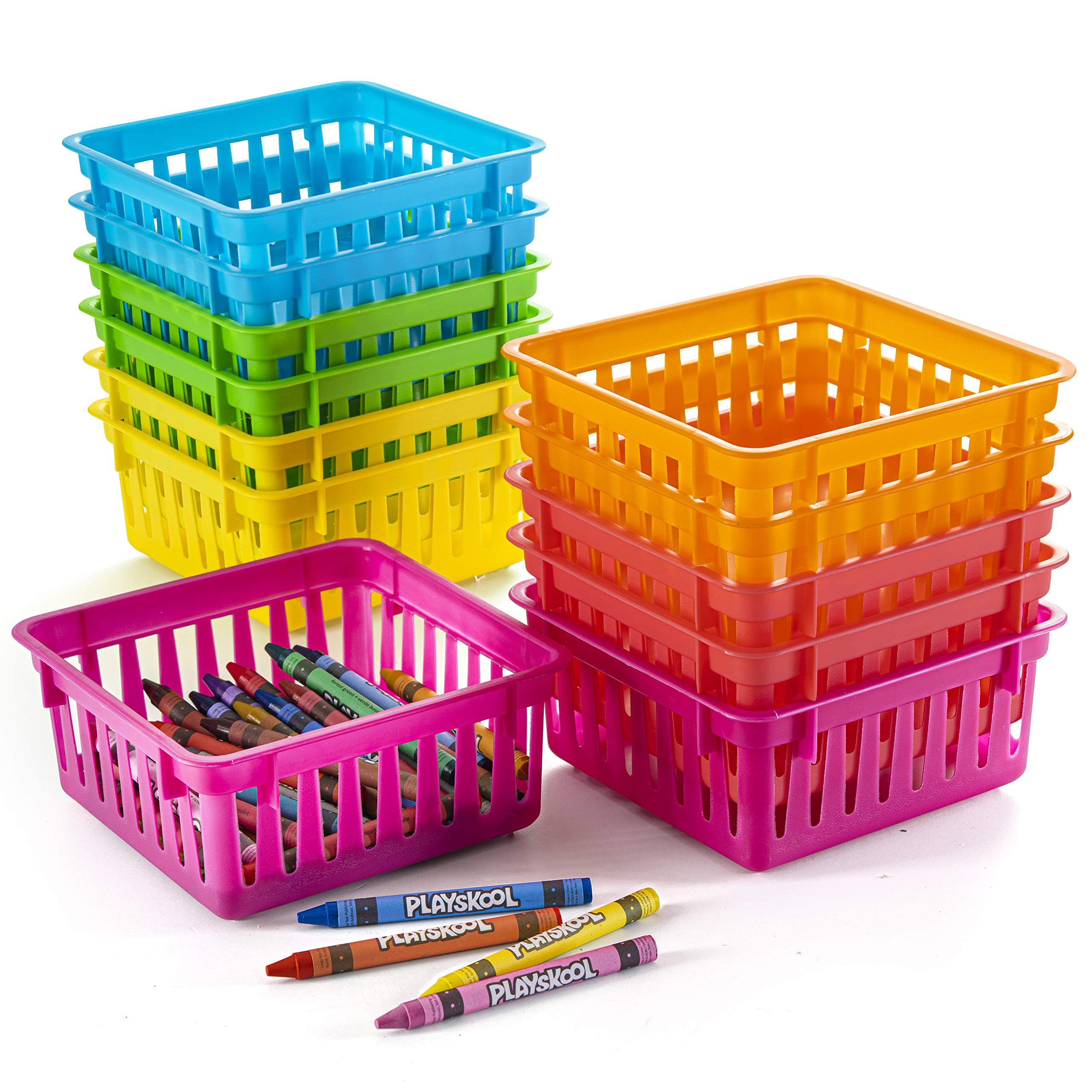 Classroom Office File Holders for Home Kitchen Office School Plastic Oraganizer Baskets Colorful Plastic Bin with Handles Lawei 8 Pack Paper Organizer Baskets