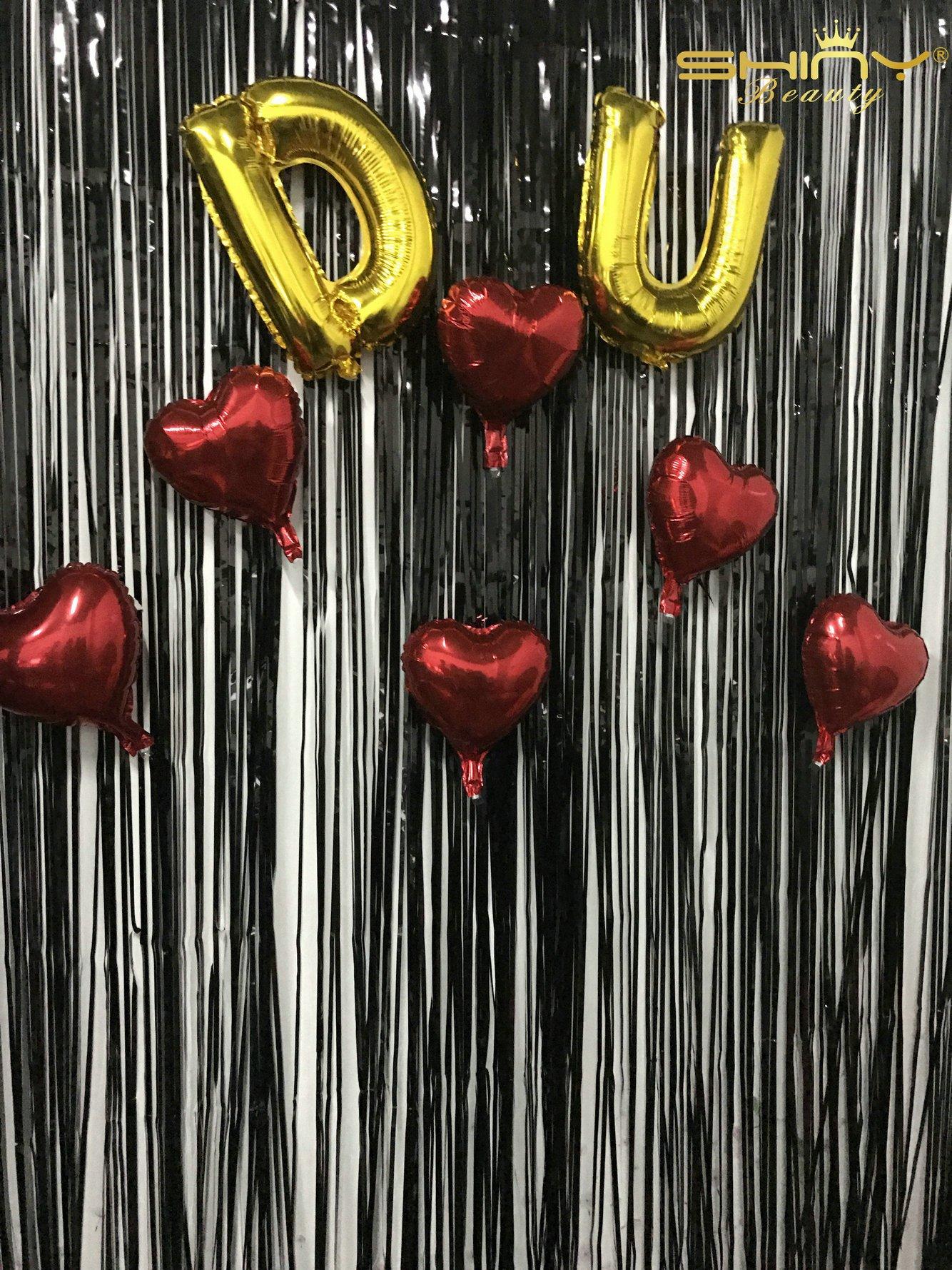 ShinyBeauty 9FTX10FT-Black Foil Fringe Door,Shimmering Look Fundraisers Proms,Metallic Foil Fringe Curtains