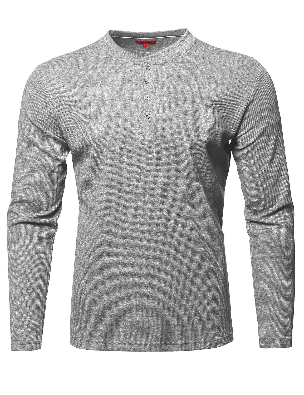 Youstar Men's Premium Quality Thermal Henley Long Sleeve T-Shirt