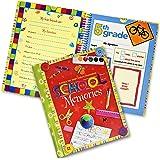 School Memory Book Album Keepsake Scrapbook Photo Kids Memories from Preschool Through 12th Grade with Pockets for Storage Portfolio + Bonus 12 Slots to Paste Pictures - of School Pictures, Grad etc.