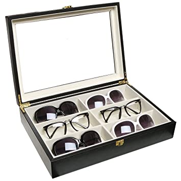 Luxurious Black Eyeglasses / Sunglasses Storage Organizer Display Case Box  W/ Leatherette Trim   MyGift