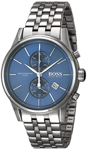 a51707d9ec30 Hugo Boss Jet Mens Quartz Blue Chronograph Silver Stainless Steel Bracelet  1513384  Amazon.co.uk  Watches