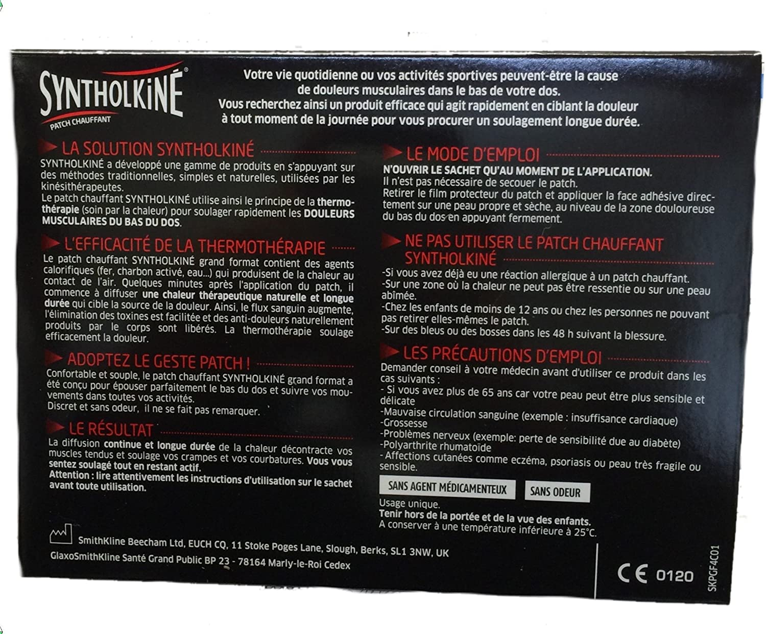Syntholkine Heating Patches Extended Zones Boxes of 4 Patches by SyntholKin
