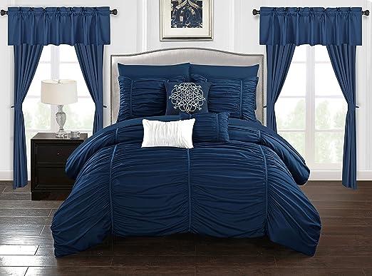 Amazon.com: Chic Home Avila 20 Piece Comforter Set Ruffled Ruched