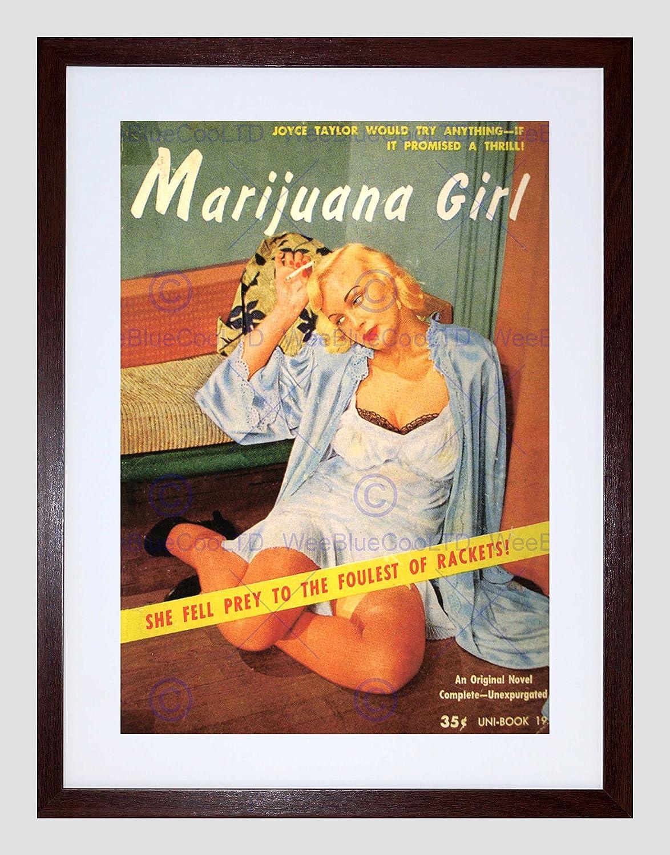 VINTAGE AD NOVEL COVER FOULEST RACKETS MARIJUANA GIRL FRAMED PRINT B12X12408
