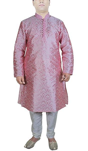 RoyaltyLane Camisa estampado hombre pijama color rosado manga larga seda vestidos elegantes