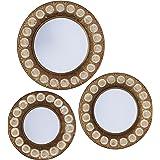 Household Essentials Round Decorative Sunburst Wall Mirror Set Of 3, Gold