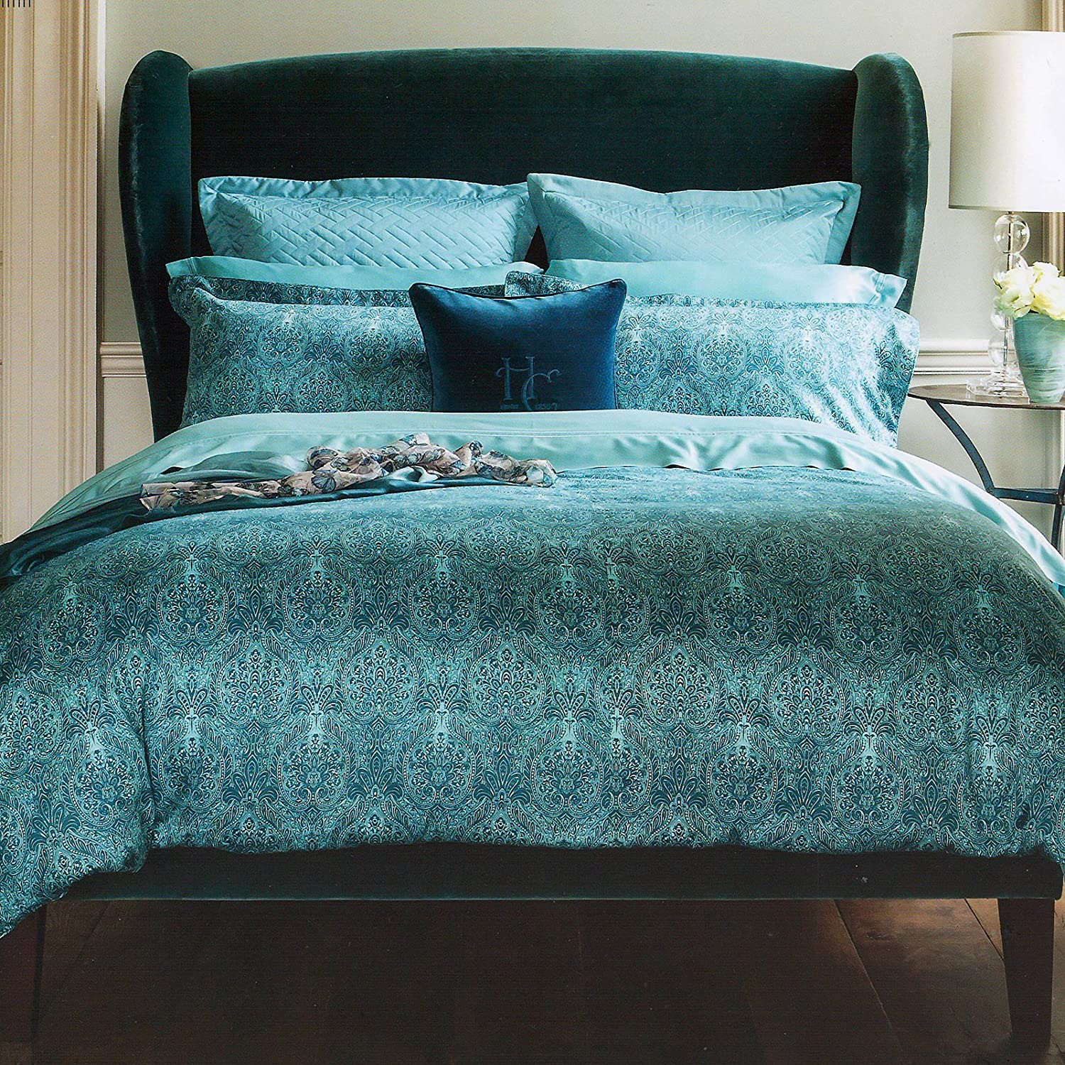 colour stylish cover diamante luxury ekm asp teal bedding matallic cream glamour floral bed beautiful p duvet