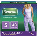 Depend Night Defense Incontinence Underwear for Women, Disposable, Overnight, S, Blush, 34 Count