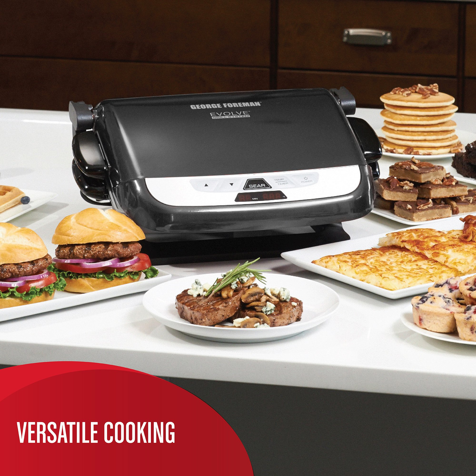 George Foreman GRP4842MB Multi-Plate Evolve Grill, (Ceramic Grilling Plates, and Waffle Plates Included), Black by George Foreman (Image #4)