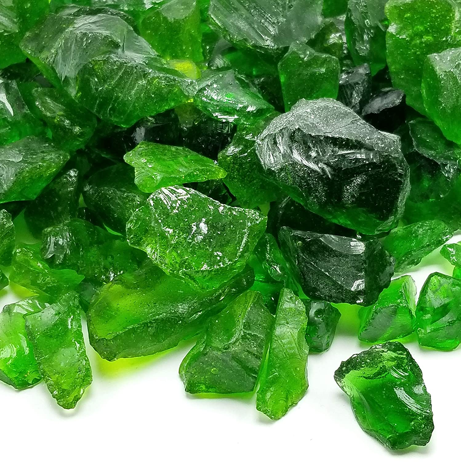 VIVID Heat Emerald Green Premium Outdoor Crushed Fire Glass Rock (5-Pound) Large 1/2, 3/4 & 1' inch Size - Glass use in Gas Fire Pit, Fireplace, Fire Table Etc. 3/4 & 1 inch Size - Glass use in Gas Fire Pit