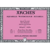 ARCHES 36 x 51 cm 300 gsm Hot Pressed Glued on 4 Sides Block Watercolour Paper - Natural White (Pack of 20 Sheets)