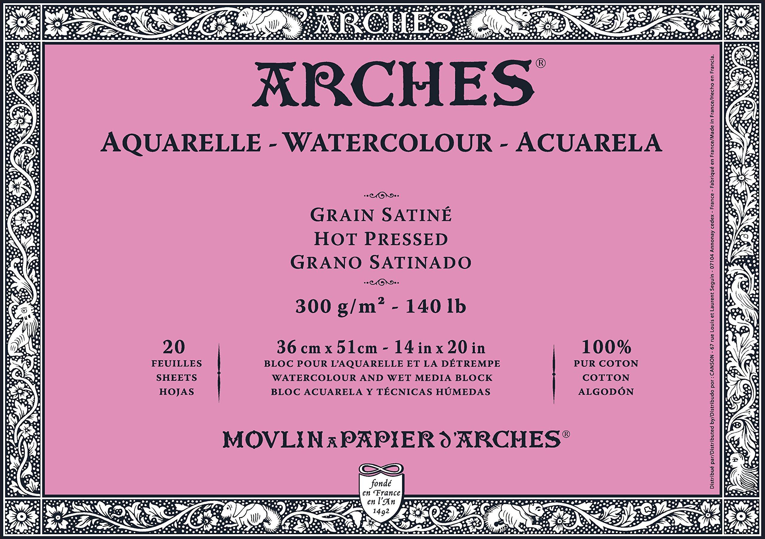 "Arches Watercolor Block, Hot Press 14""X20"", 14"" x 20"""