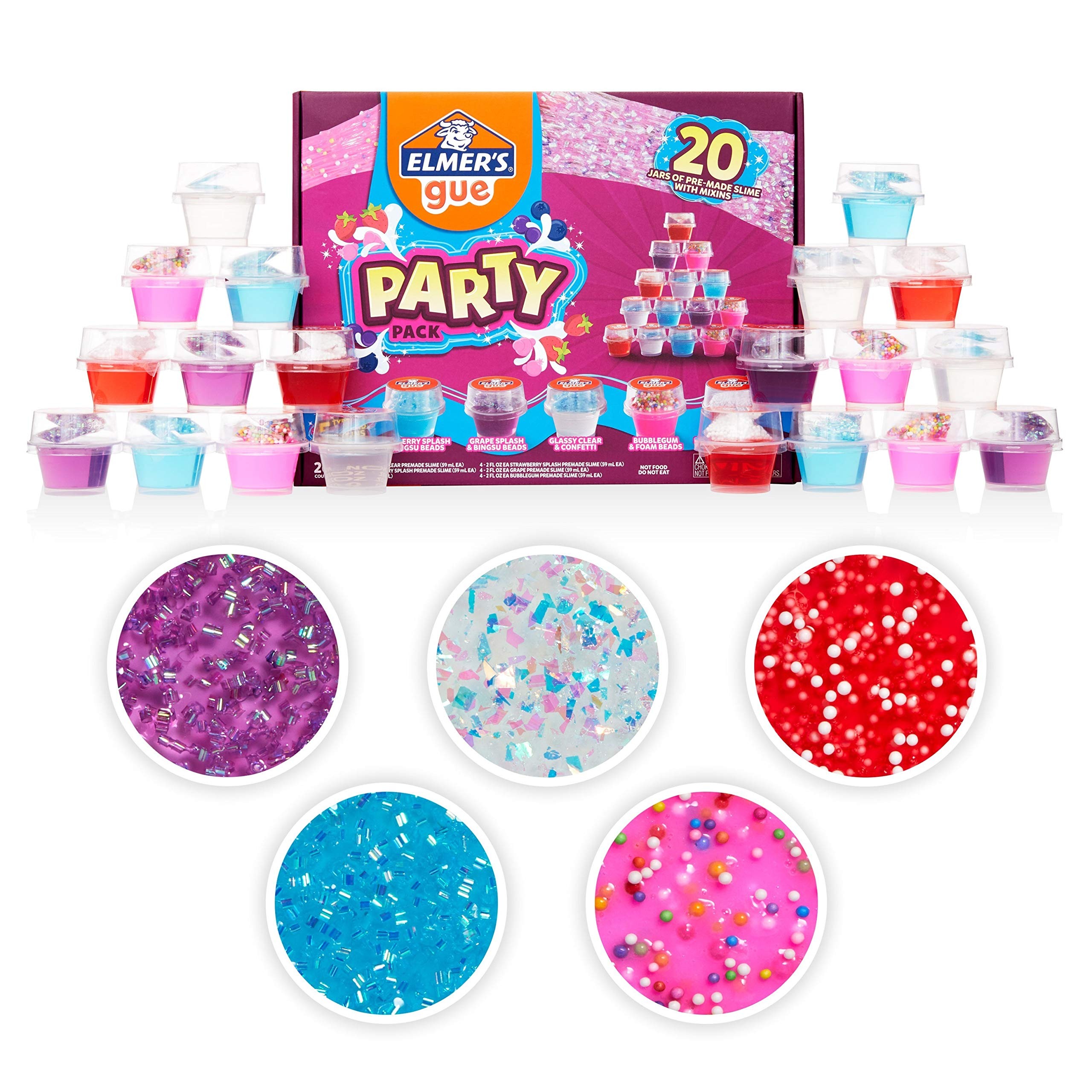 Elmer's Gue Premade Slime, Slime Kit, Includes Fun, Unique Add-Ins, Party Pack, 20 Count