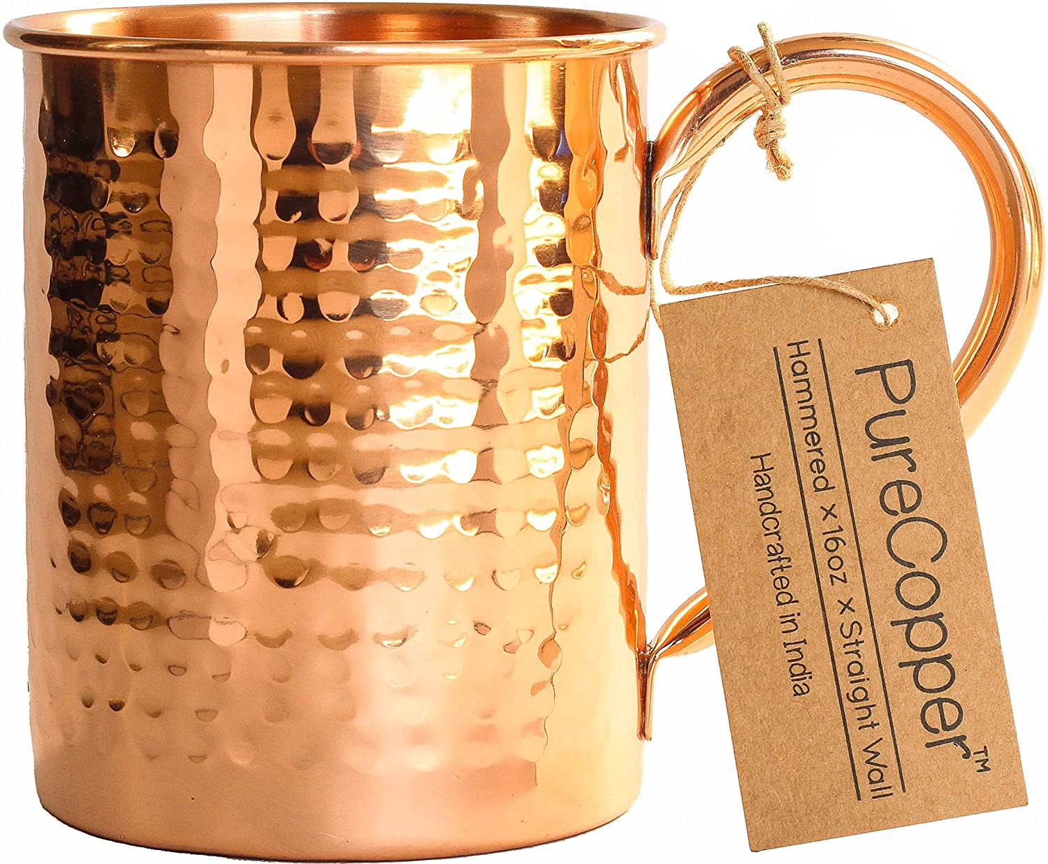 100% Copper Mug for Moscow Mule - 16oz Hammered Pure Copper Thick Straight Wall PureCopper PCB-MM3