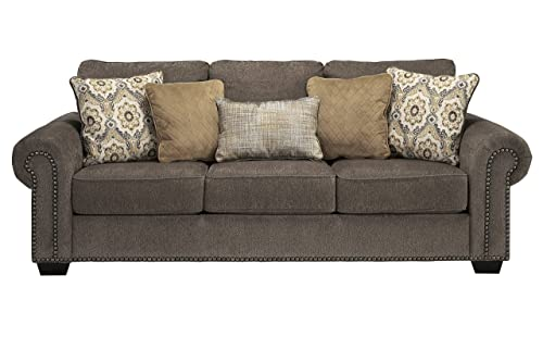 Benchcraft – Emelen Contemporary Living Room Sofa – 2 Accent Pillows Included – Alloy Gray