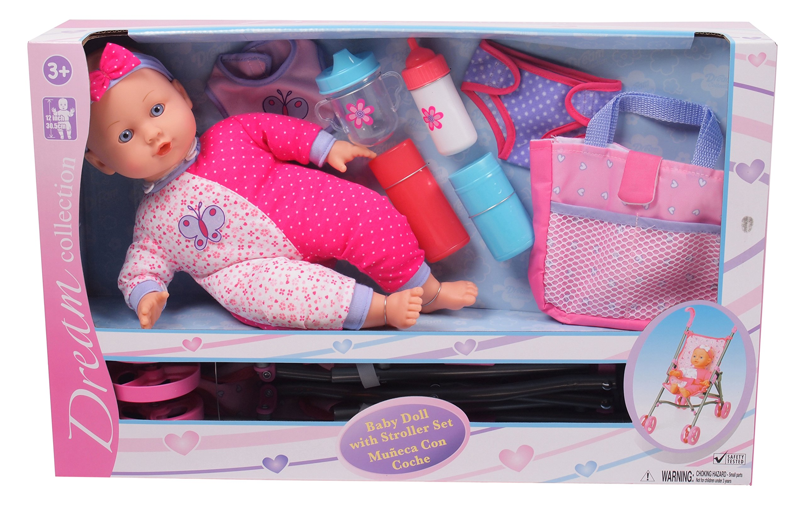 Gi-Go 14'' Baby Doll with Stroller Set