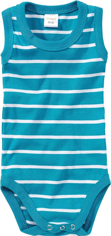 Tallas 56-134 hecho 100/% se algod/ón conjunto de 2 color azul turquesa con rayas blancas y blanco WELLYOU body sin mangas para beb/és//ni/ños y ni/ñas