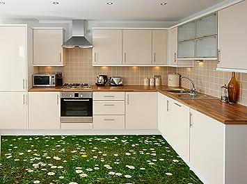 Ruvitex 3D Küche Boden Vinyl Dekor PVC Bodenbelag Teppich Aufkleber Fliesen  Wand Kunst Bild Leben Lebendige