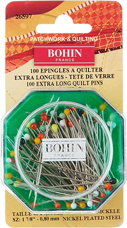 Bohin 26597 Glass Head Quilting Pins Size 30 100-Pack