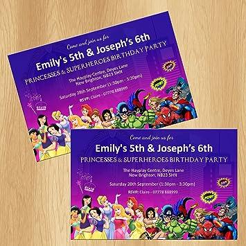 Kids Joint Birthday Party Invitations Personalised Invites Amazon