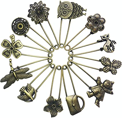 6209a50f8 Image Unavailable. Image not available for. Color: Ababalaya 12 Pcs Decorative  Bronze Assorted Safety Pins Vintage Hijab Pins Retro Brooches