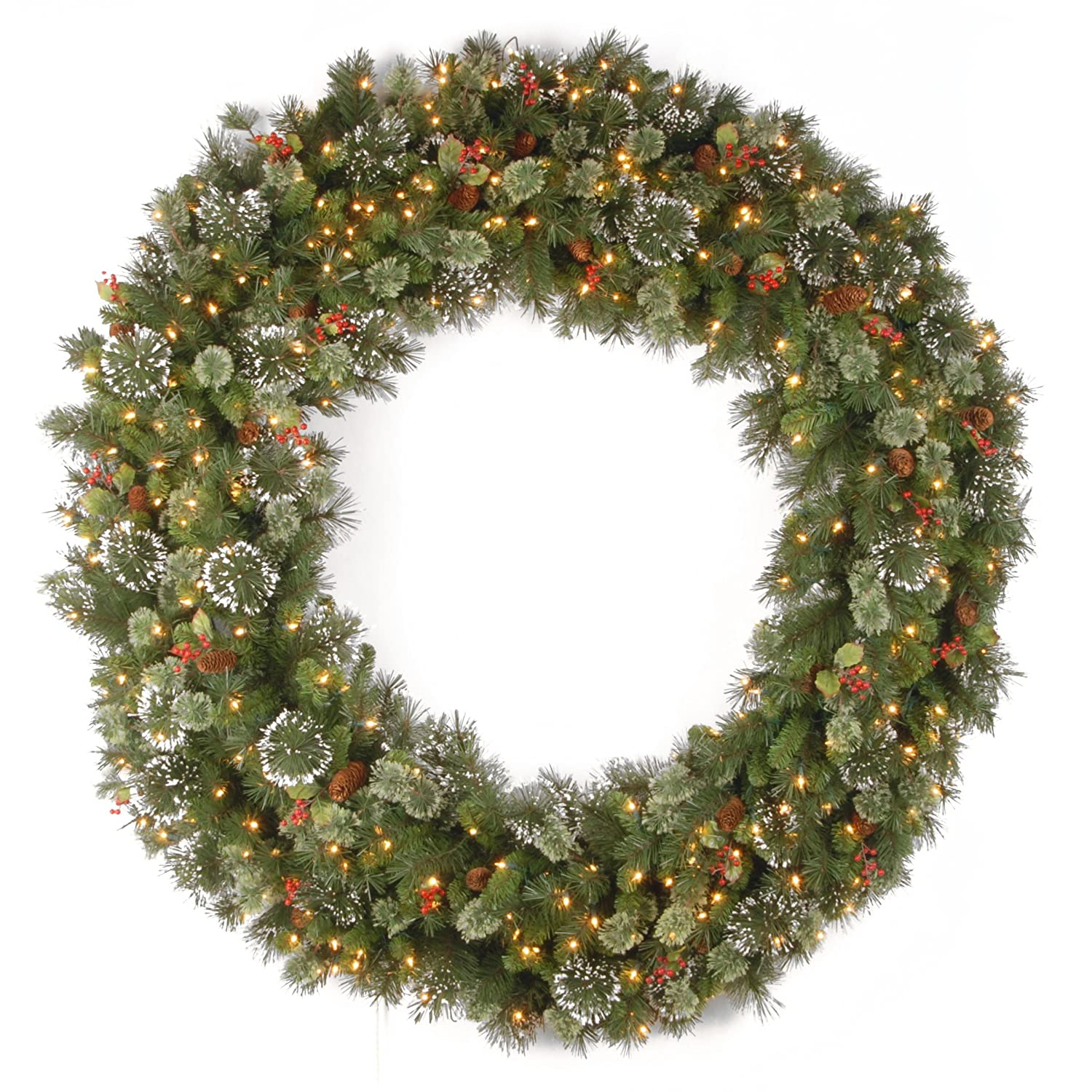 National Tree Wintry Pine Wreath with Cones, Red Berries and Snowflakes, 60-Inch, 300 Clear Lights