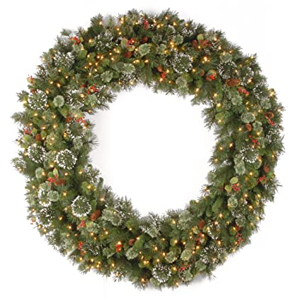 national tree 60 inch wintry pine wreath with cones red berries snowflakes and 300
