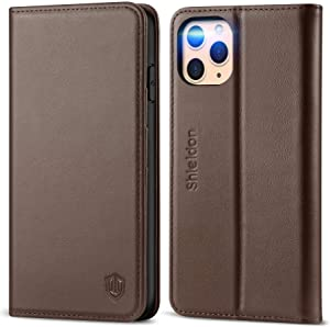 SHIELDON iPhone 11 Pro Max Case, Genuine Leather Auto Sleep Wake Wallet Case RFID Blocking Card Slots Magnetic Kickstand TPU Shockproof Case Compatible with iPhone 11 Pro Max (6.5 Inch) - Coffee Brown
