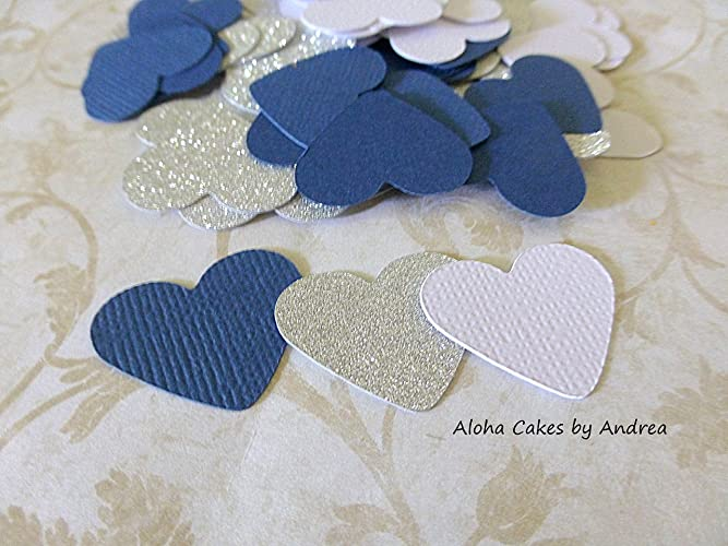 heart confetti navy blue silver glitter and white its a boy baby shower