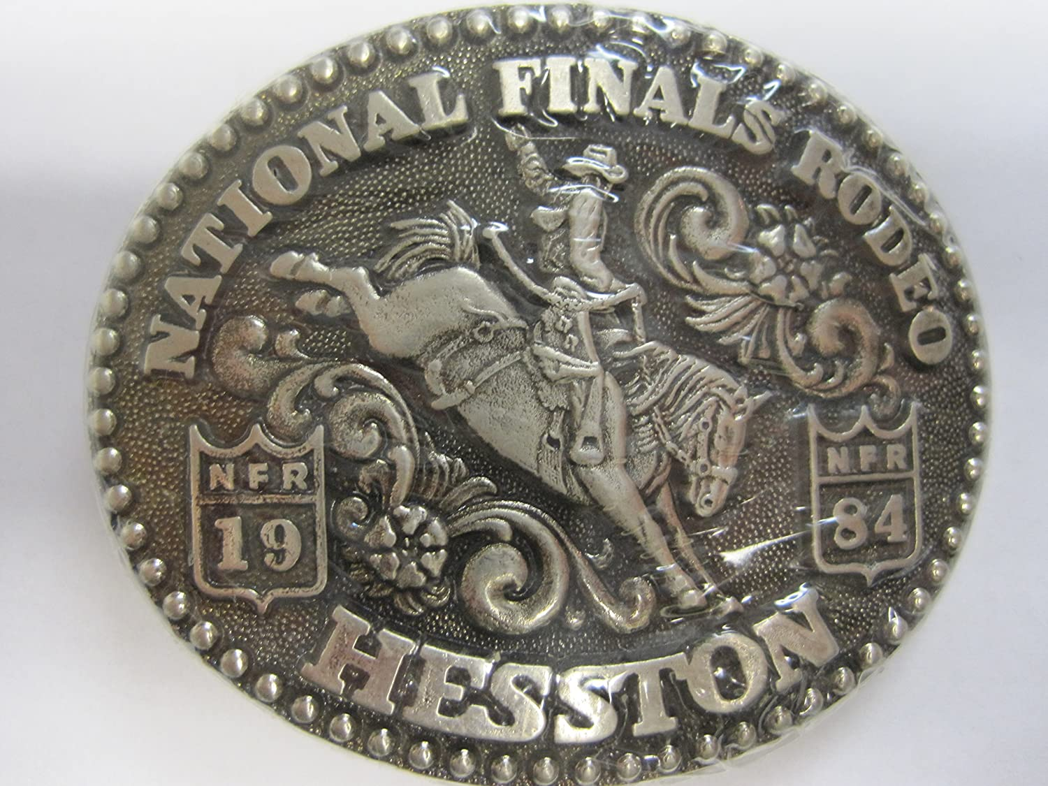 Vintage 1984 National Finals Rodeo Hesston Nfr Buckle WhiteCasting