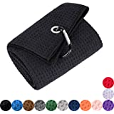 Mile High Life Tri-fold Golf Towel | Premium Microfiber Fabric | Waffle Pattern | Heavy Duty Carabiner Clip | 14 Color…