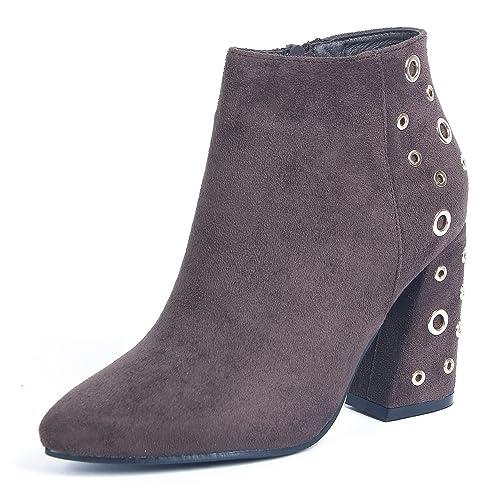 53fc6874923 AgeeMi Shoes Mujer Cremallera Tacón Ancho Sólido Caña Baja Botas con  Meatl,EuX31 Marrón 41: Amazon.es: Zapatos y complementos