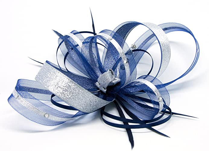 Navy blue fascinator with silver lurex trim and sparkling diamante ... 6b6d1971ce4
