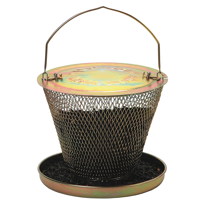 Futterkorb f/ür V/ögel aus Metall UD00314 Mod Pulverbeschichtung in Dekorativem Messing Perky-Pet Vogelfutterspender mit Schale