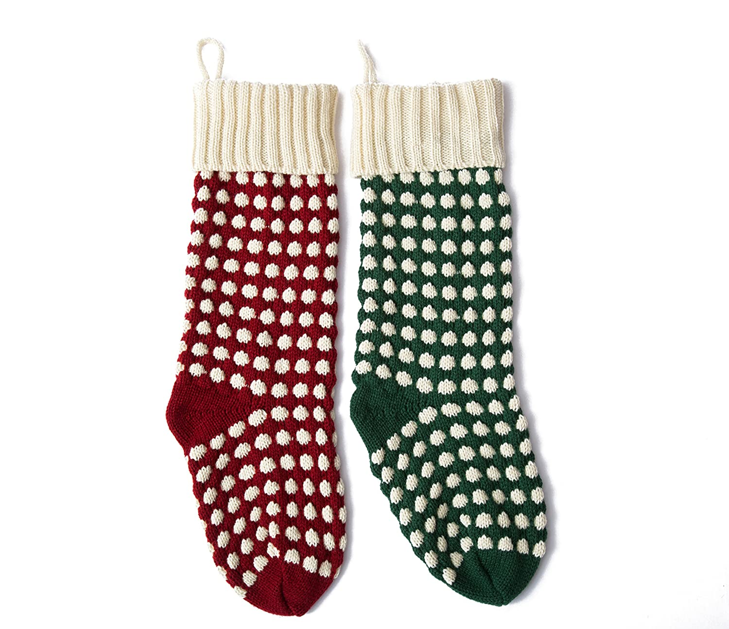 Leoparts Polka Dot Knit Christmas Stockings 2pcs Assorted