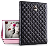 IDEGG Princess iPad 2 3 4 Case for Girls and Women, Fashion PU Leather Cover with Bling Crown, Just Fits iPad 2nd Generation (2011), 3rd Generation (2012) and 4th Generation (2013) (Black)