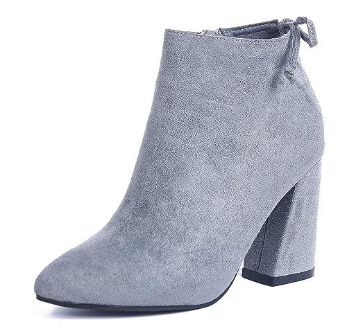 317ced1a57c AgeeMi Shoes Mujer Cremallera Suede Tacón Ancho Sólido Caña Baja Botas,EuX30  Gris 38: Amazon.es: Zapatos y complementos
