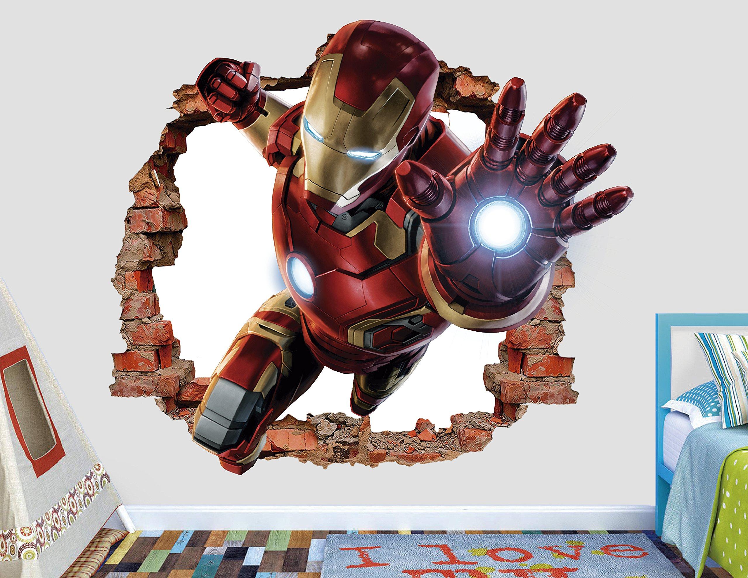 Iron Man Wall Decal Smashed 3D Sticker Vinyl Decor Mural Art Movie Kids- Broken Wall - 3D Designs - AL02 (Medium (Wide 28'' x 24'' Height))