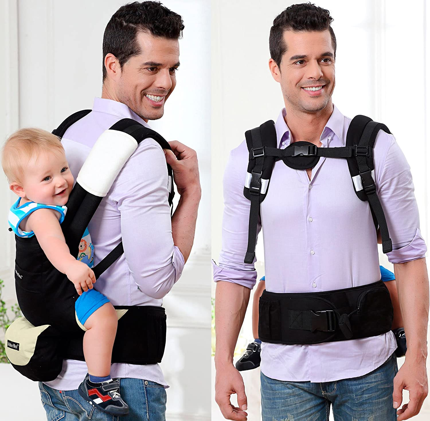 Amazon Mother Nest Ergonomic Baby Carrier 360 All Carrying Positions for Dad and Mom Black & Beige Baby