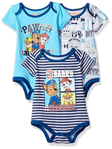 53a824a23 Amazon.com  Nickelodeon Baby Boys  Paw Patrol 3 Pack Bodysuit  Clothing