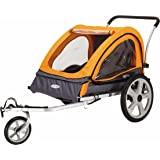 Instep Quick-N-EZ Double Tow Behind Bike Trailer for Toddlers, Kids, Converts to Stroller, Jogger, 2-in-1 Canopy, Universal B