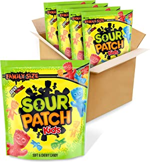 SOUR PATCH KIDS Soft & Chewy Candy, Christmas Candy, Family Size, 4 - 1.8 lb Bags