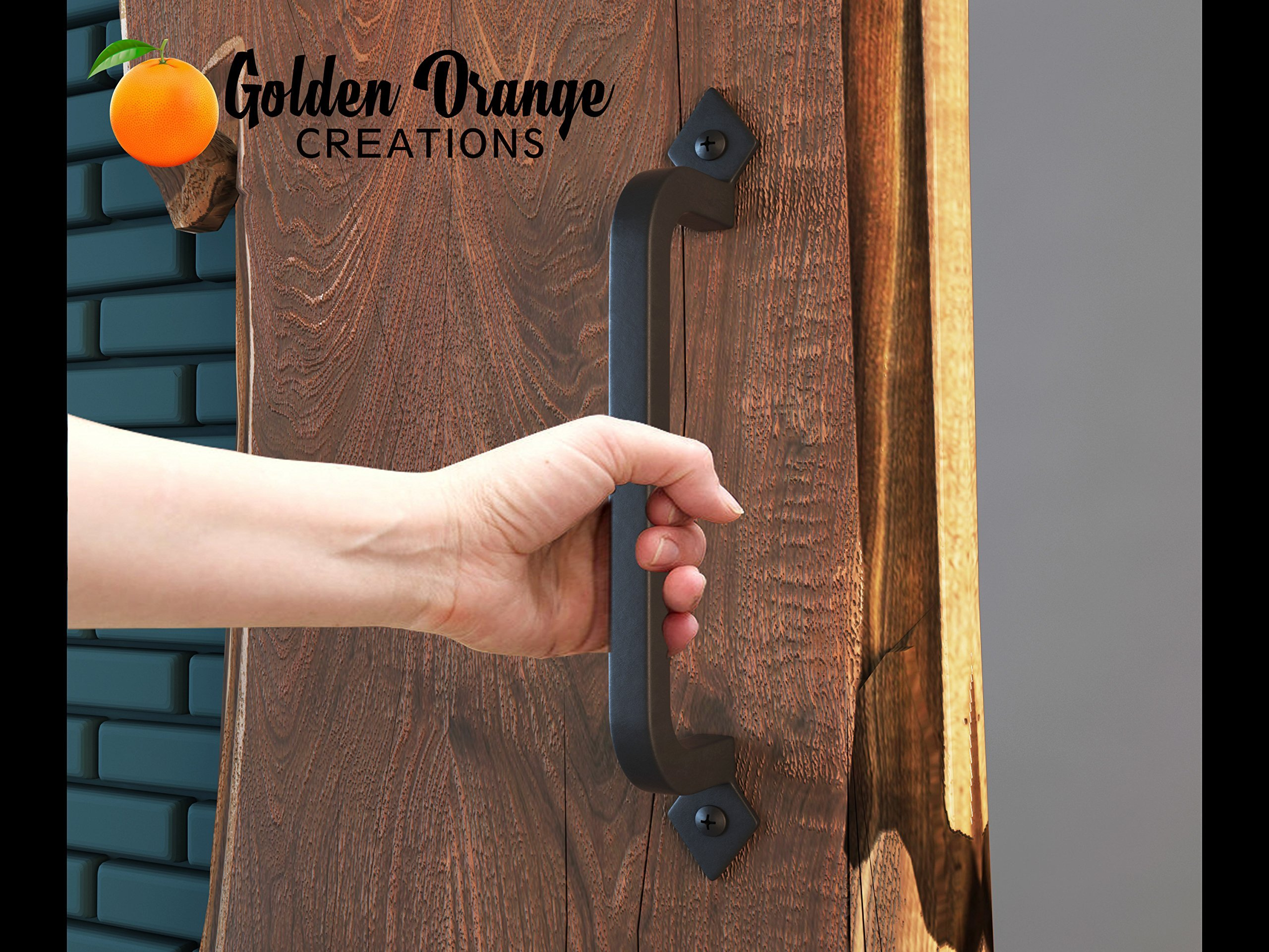 9-3/4'' Antique Barn Door Pull Handle with 2 Matching Black Screws - for Custom and Luxury Sliding Barn Doors, Pantry, Closet, Furniture, Garage, Gate, Shed - Solid Cast Iron Hardware Handle by Golden Orange Creations (Image #7)