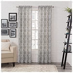 """Pairs to Go Brockwell 2-Pack Window Curtains, 56"""" x 63"""", Charcoal, 2 Piece"""