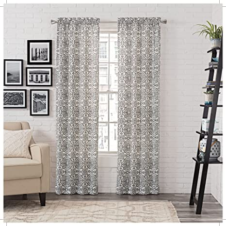 Amazon Com Pairs To Go Brockwell 2 Pack Window Curtains 56 X 84 Charcoal 2 Piece Home Kitchen