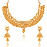 Meenaz Jewellery Traditional One Gram Wedding Bridal Sarees Kundan Pearl Party wear Gold Plated Pendant Necklace Set/Jewellery Set Earrings for Women Girls- Jewellery Earring set-230