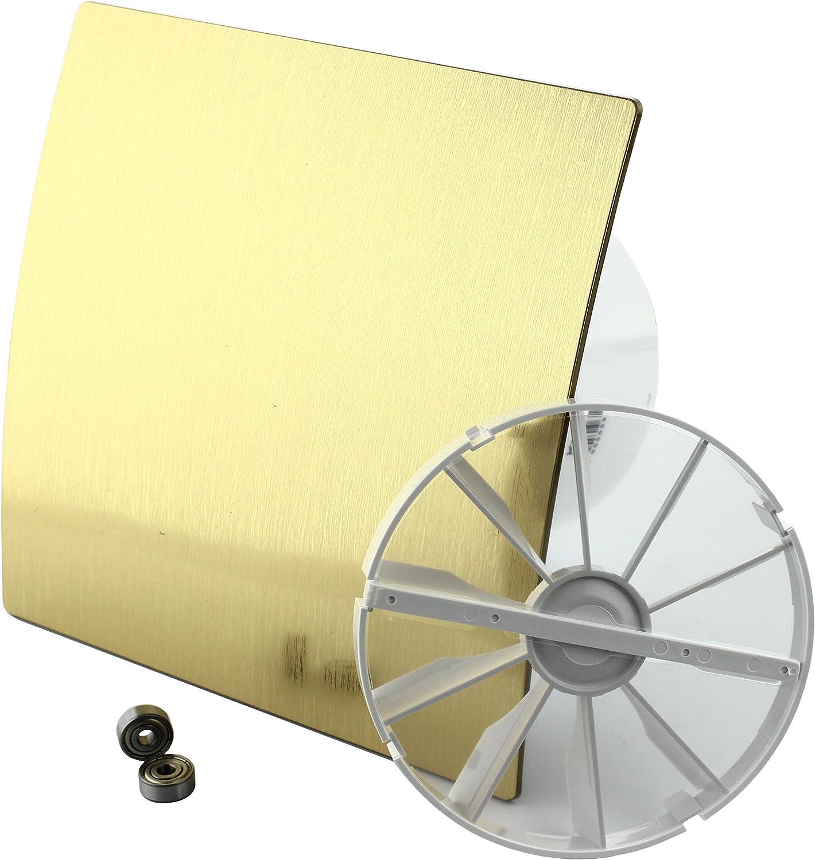 DUO Design Badl/üfter Wandl/üfter Turbo Ventilator R/ückstauklappe Kugellager Feuchtesensor /Ø 100 mm Silber 18156-008 MKK