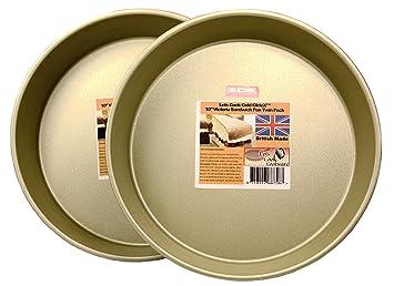 Lets Cook Cookware - Juego de 2 bandejas para tartas, 25,4 cm, base fija, fabricado en Reino Unido con Gold GlideX antiadherente: Amazon.es: Hogar