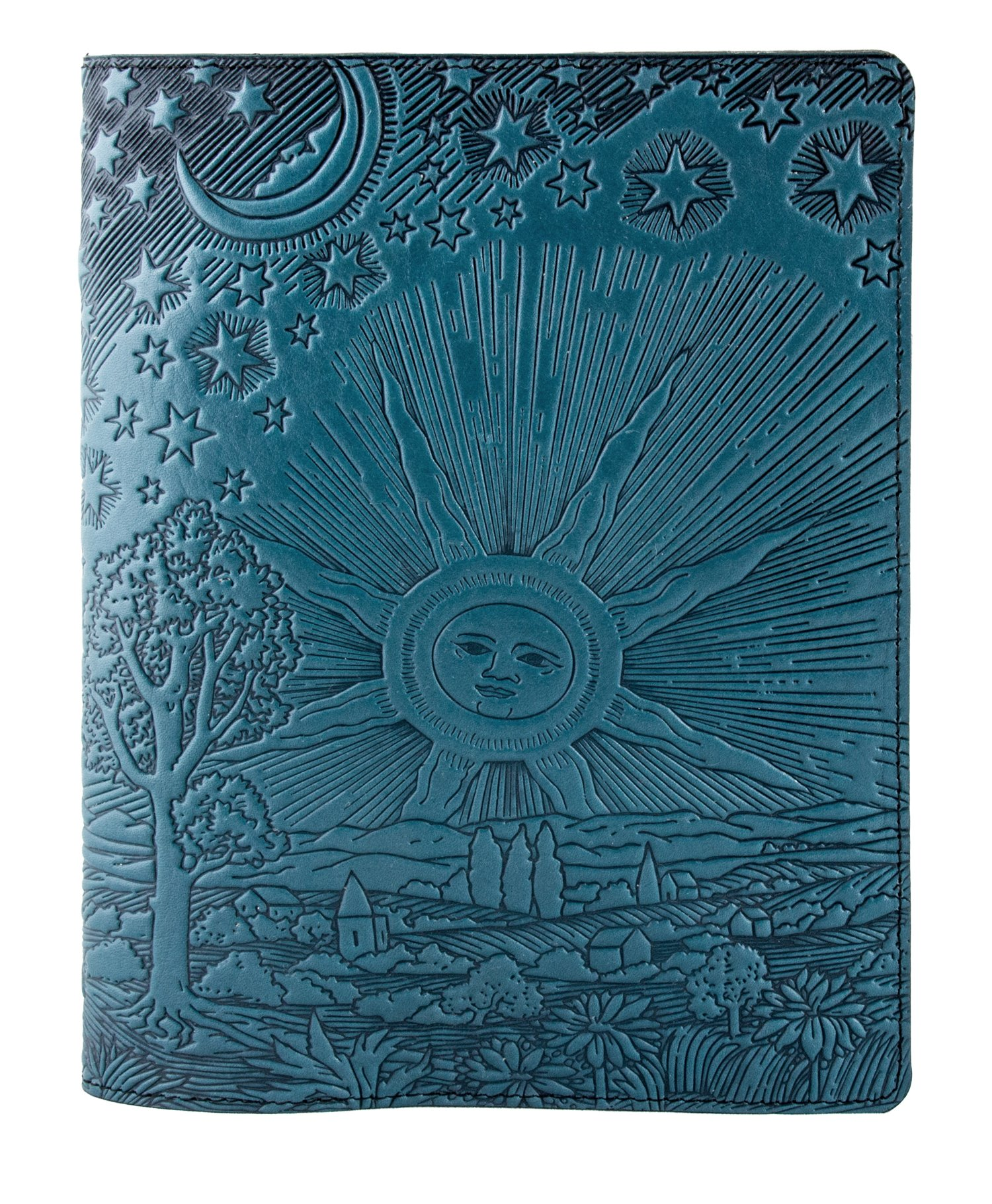 Genuine Leather Composition Notebook Cover + Insert - 8.25 x 10.25 Inches - Roof of Heaven, Sky Blue - Benchcrafted in the USA by Oberon Design